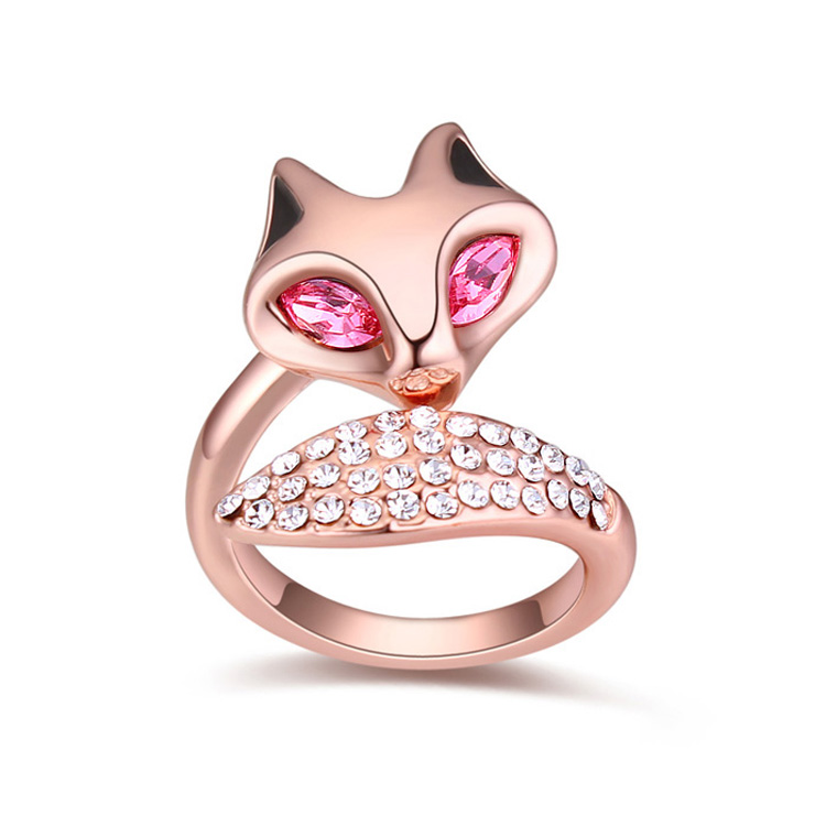 Women Finger Ring Fox Jewelry Made With Real Swarovski Elements Crystal 18Kt Gold Plated Brand Jewellery For Kids Cocktail Ring(China (Mainland))