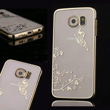 Case For Samsung S6 Edge  Ultra Slim Bling Luxury Crystal Diamond  Transparent Electroplate Back  Cover For  Samsung S6 Edge(China (Mainland))