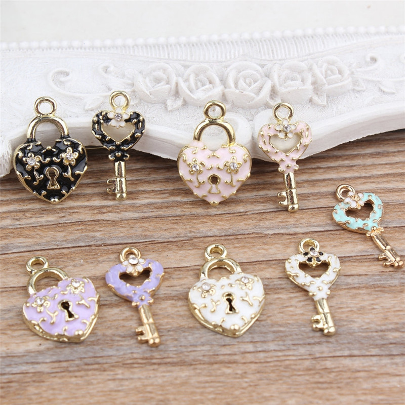 1pc Mixed Dome Crystal Lock Key Cabochon Diy Handmade Pendant Necklace Bracelet Accessories Womens Jewelry(China (Mainland))