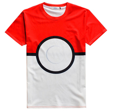 2016 Game Pokemon Go Poke Ball Cosplay Short Sleeve Cotton O-Neck Printing Pattern T-shirt Tee Shirts