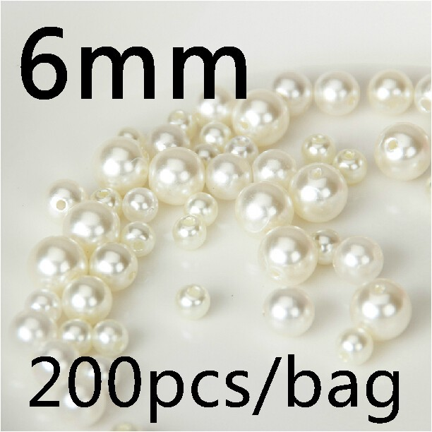 ABS beige Color Pearl Imitation DIY Bracelet Cheap Round Beads 6mm Fashion Jewelry Making - MEIBEADS-Diy Supplies Store store