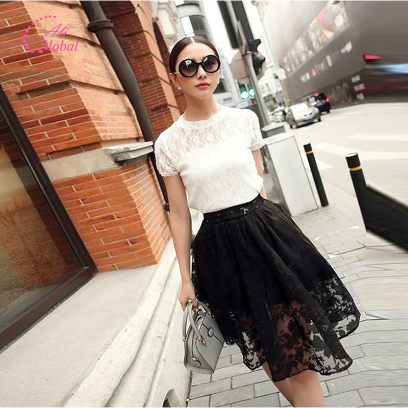 2015 women skirt Lace Midi Elegant Skirts High Waist knee length solid Floral print Pleated Skirt