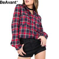 BeAvant Casual long sleeve plaid shirt women blouses 2016 Autumn winter button cool blouse Checked blusas chemise femme top