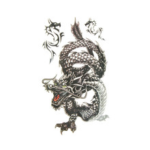 Newly Design NEW Cool Men 2014 10*20.5cm Creative Design Black Dragon Waterproof Sweat Temporary Tattoo Stickers