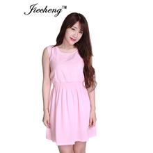 New brand 2015 Summer Women elegant dress Casual Sleeveless Dress Chiffon Beach Dresses white,black,pink dress vestidos(China (Mainland))