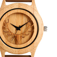 Buy Hot Fashion Elk Deer Head Bamboo Watches Men Women Genuine Leather Strap Sport Casual Nature Wood Creative Male Female Clock for $14.07 in AliExpress store