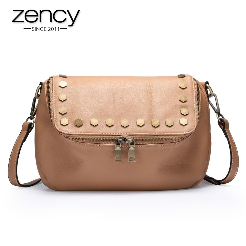 2016 NEW Italian Real Genuine Leather Ladies Handbag Rivets The Women's Messenger Bags for Women Cross Body Bag Satchel Purse(China (Mainland))