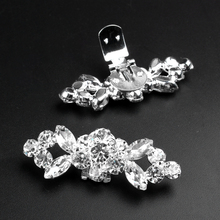 New Arrival shiny crystal rhinestone shoe clips OL bridal wedding party Shoe Decorations accessories Ladies' Xmas Gift Promotion(China (Mainland))