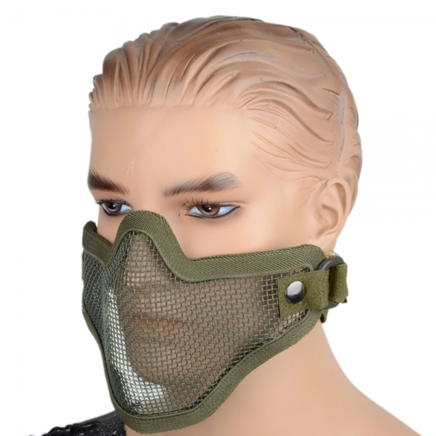 Army Green Half Face Net Mesh Protection Mask Elastic Strap Velcro Outdoor Activity War Game Military Use - Top Electronics store