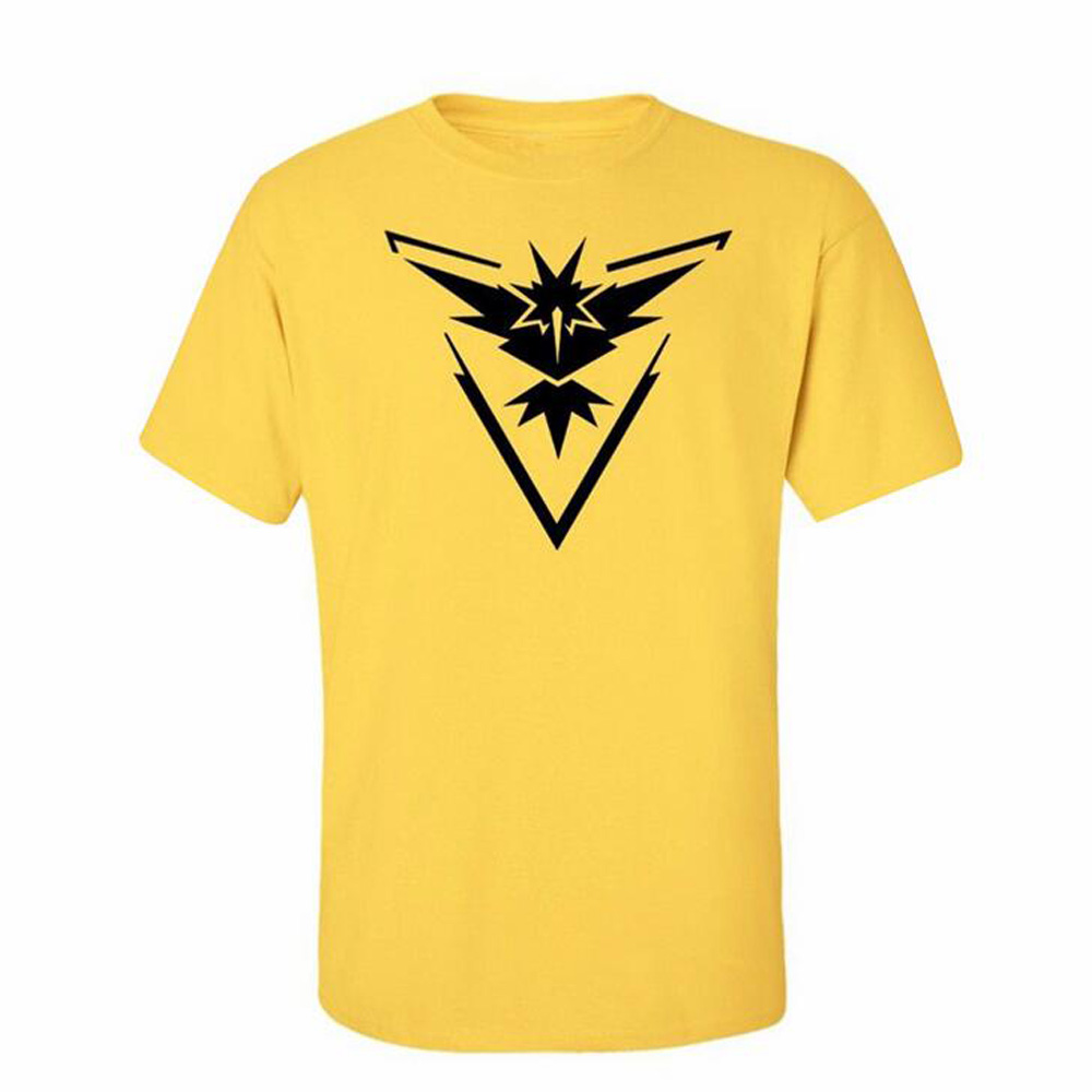 New Yellow Cotton Pokemon Go Men T Shirt 2016 Male Funny Cool Summer Print Game Shirts Team Casual Tops Crops Tee Sports Jersey(China (Mainland))
