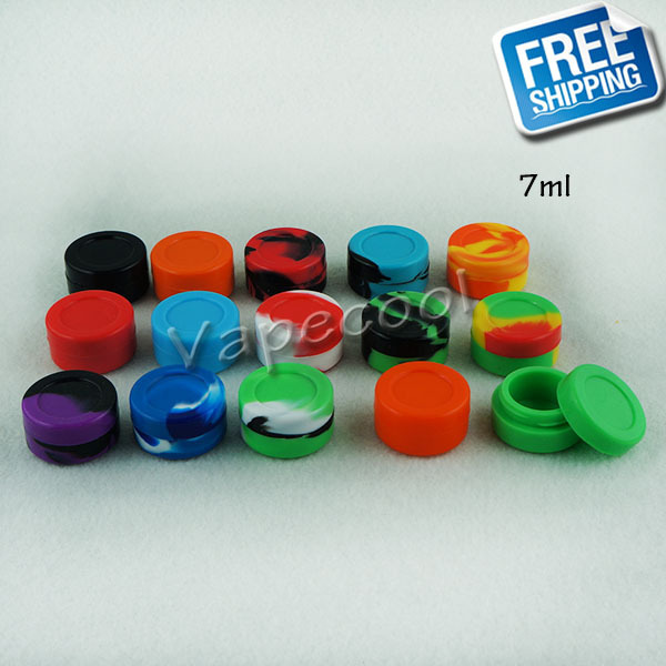 2015 New arrival colorful silicone container wax vaporizer 7ml wax silicone jars cheap wax container SJ0702(China (Mainland))