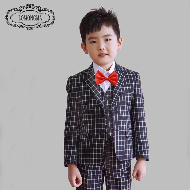 Скидки на Весна 2016 детская одежда Плед дети свадебные костюмы пиджаки для мальчиков (куртка + брюки + жилет)
