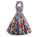 Vestidos Andrey Hepburn Dress Women Floral Rockabilly Dress Robe Femme Halter Neck Flower Print Pin Up