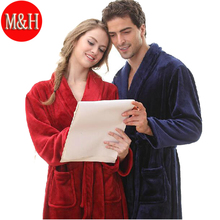 Фланель халат женщины загущающие осень / зима Большой размер пижамы любителей отдыха халат ватки халат мужчина синий