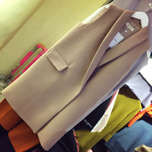 2016 spring and autumn sleeveless slim women's vest thick vest medium-long vest suit jacket waistcoat