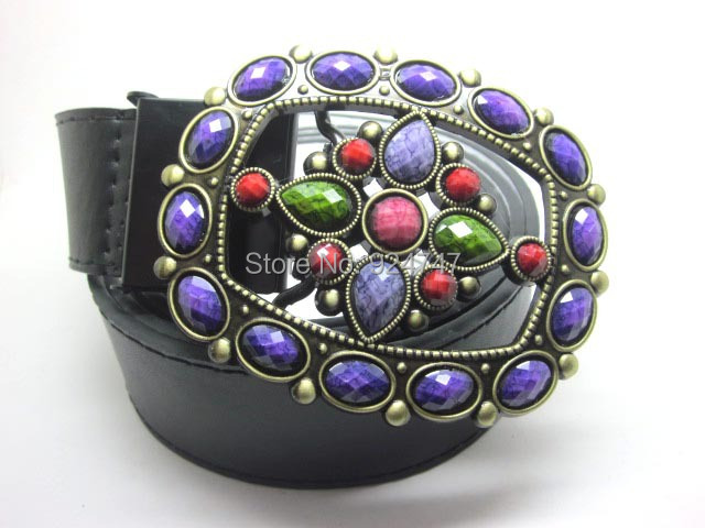 07 Vintage Colorful Resin Drill Rhinestone Belt Buckle Double Faced Pu Black White Match 120CM Brazil Style - buckles family Brown's store