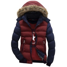 Contrast Color Hooded Design Men Parka Size M-3XL Casual & Fit Men's Winter Jacket Stand Collar Thick Man Down Jacket(China (Mainland))