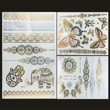 New 3Design/set Sexy Body Temporary Tattoos Sticker Choker Necklace Metallic Gold Tattoo Metal Silver Flash Tattos(China (Mainland))