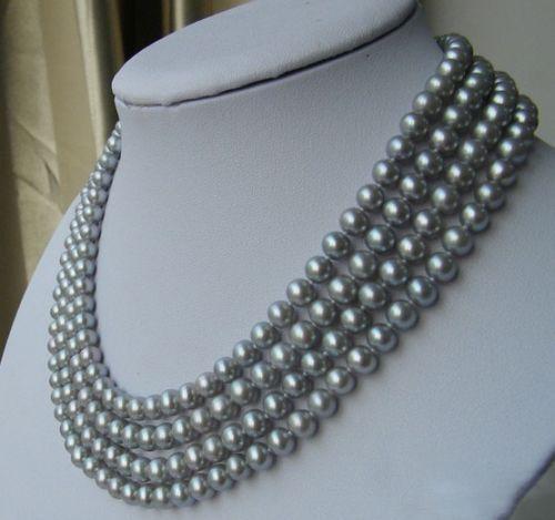 xiuli 003527 Natural 8-9  gray Genuine south sea pearl necklace 100 inch <br><br>Aliexpress