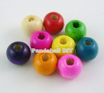 20Lead Free Oval Wood Beads Jewelry Making Diy Dyed 8mm Mixed Color hole: 2mm - PandaHall DIY store