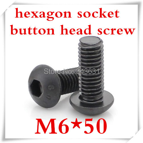 50pcs/lot ISO7380 Grade 10.9 M6*50 Black Hexagon Socket Button Head Screws Alloy Steel<br><br>Aliexpress