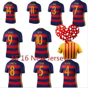 2016 High quality kits RONALDO JAMES soccer jersey Suarez MESSI Real madrid jersey 15 16 Neymar jr soccer shirt Size: S-M-L-XL(China (Mainland))