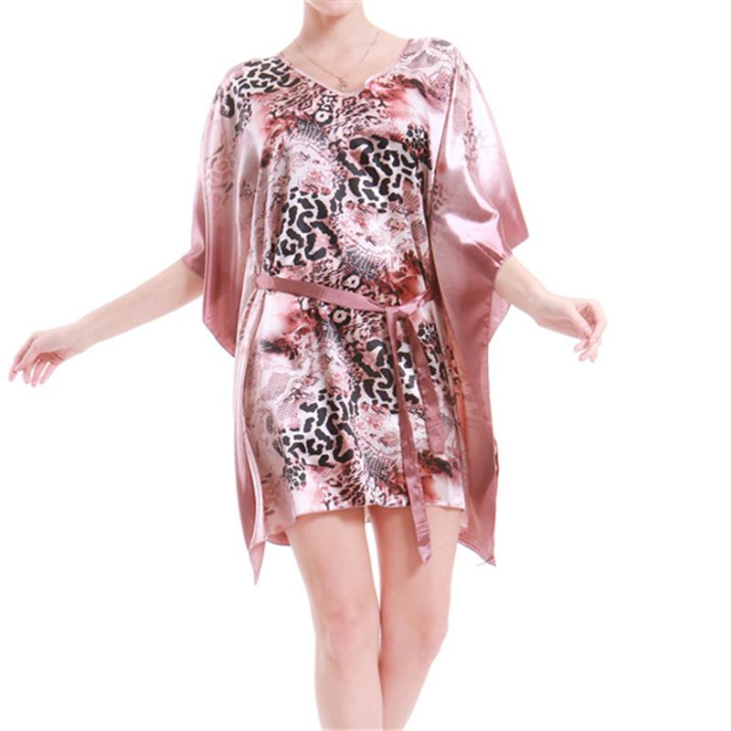 New Arrivals Elegant Nightgowns Print Silk Ladies Dresses Princess Sleep Wear Romantic Home Dress Night Wear Nightdress #H68(China (Mainland))