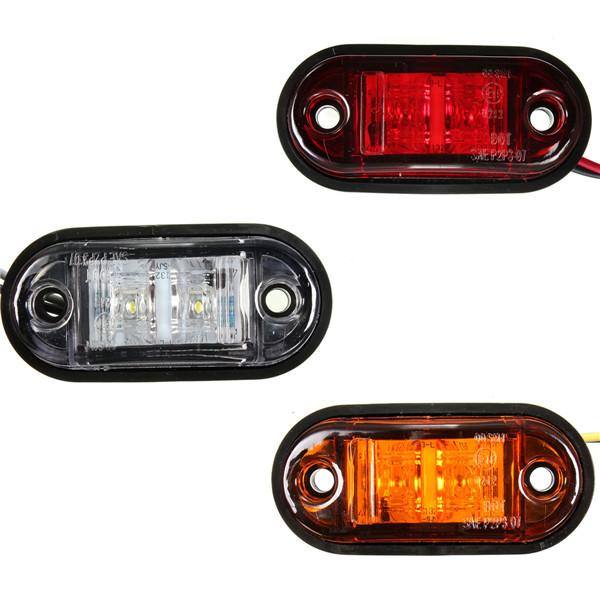12V / 24V 2 LED Side Marker Blinker Lights Clearance Lamp Bulb For Car Truck Trailers UTE(China (Mainland))