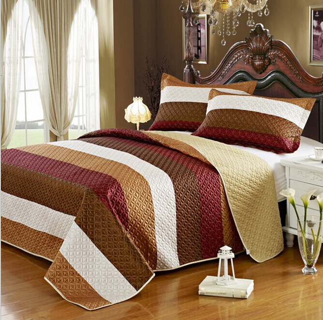 BS39 New 3PCS 100% polyester Manual quilted bedding BEAUTIFUL LOG CABIN LODGE COUNTRY BROWN WHITE RED TEXTURE QUILT SET(China (Mainland))