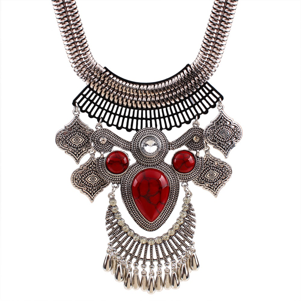 XL6145 Vintage Jewelry Women Necklace Tibetan Silver Plated Natural Turquoise Statement Necklace Crystal Chain Necklace Pendants