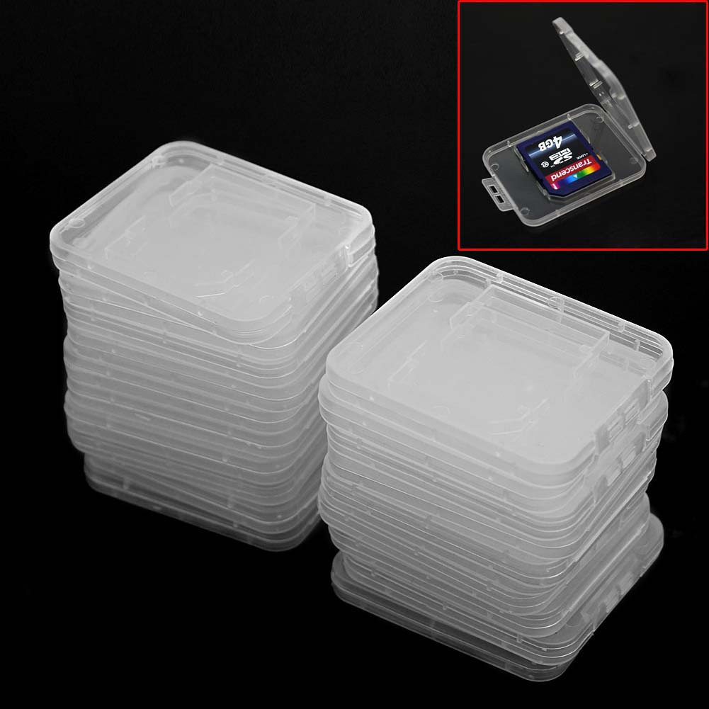 20pcs Tin Clear Hard Plastic Standard SD SDHC Memory Card Case Holder Storage Box Container Protector Office Home Accessories(China (Mainland))