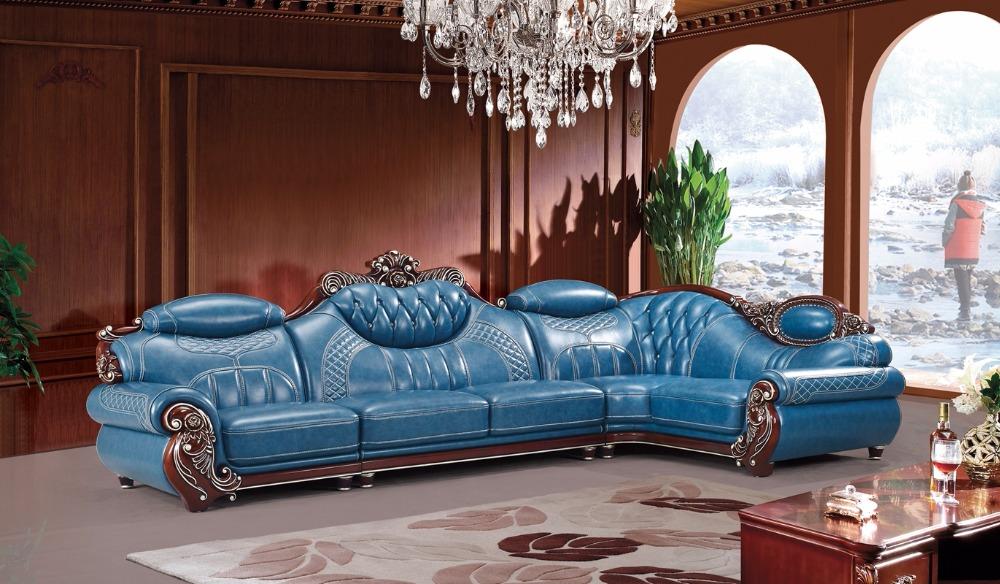 Amerikaanse lederen bankstel woonkamer meubels China houten frame L ...
