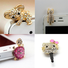 1pcs New Cute Diamond Cat hello kitty tortoise Pattern koala Anti Dust Plug For Phone Accessories Cell Phone