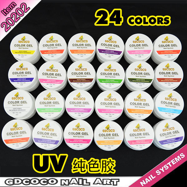 Brand New 24 Colors Solid Pure UV Builder Gel Set Nail Tips Pure Fine Shiny Cover French Manicure Set kit hot selling GDCOCO(China (Mainland))