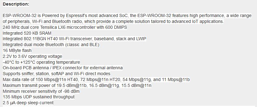 ESP32 ESP8266 ESP-WROOM-32 WiFi/WLAN+Bluetooth Module Dual Core 240MHz