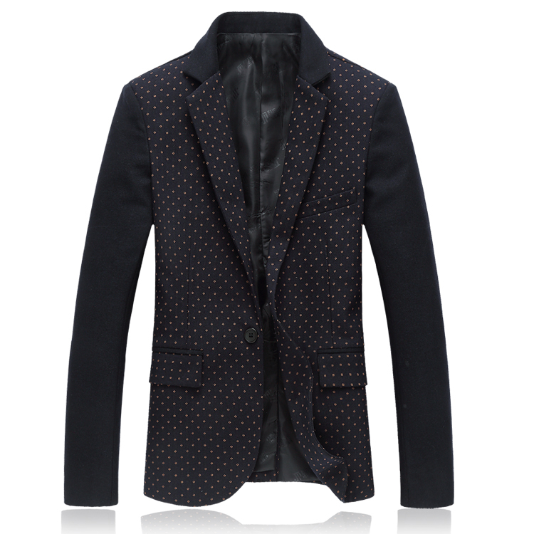 Men Casual Blazer Jacket Slim Leisure High Quality Long Sleeve Blue Polka Dot Tuxedo Fashion Business X1017Одежда и ак�е��уары<br><br><br>Aliexpress