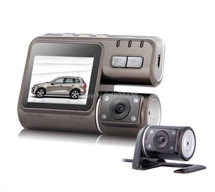 HD 720P Dual lens camcorder car dvr parking Dual camera i1000 Dash cam black box with Rear 2cam vehicle view cameras car styling(China (Mainland))