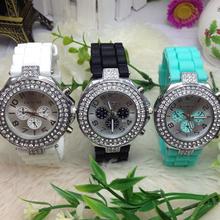 Free Shipping 2016 Geneva watch silicone jelly watch quartz watch three double diamond watch Wristwatch for women W219(China (Mainland))