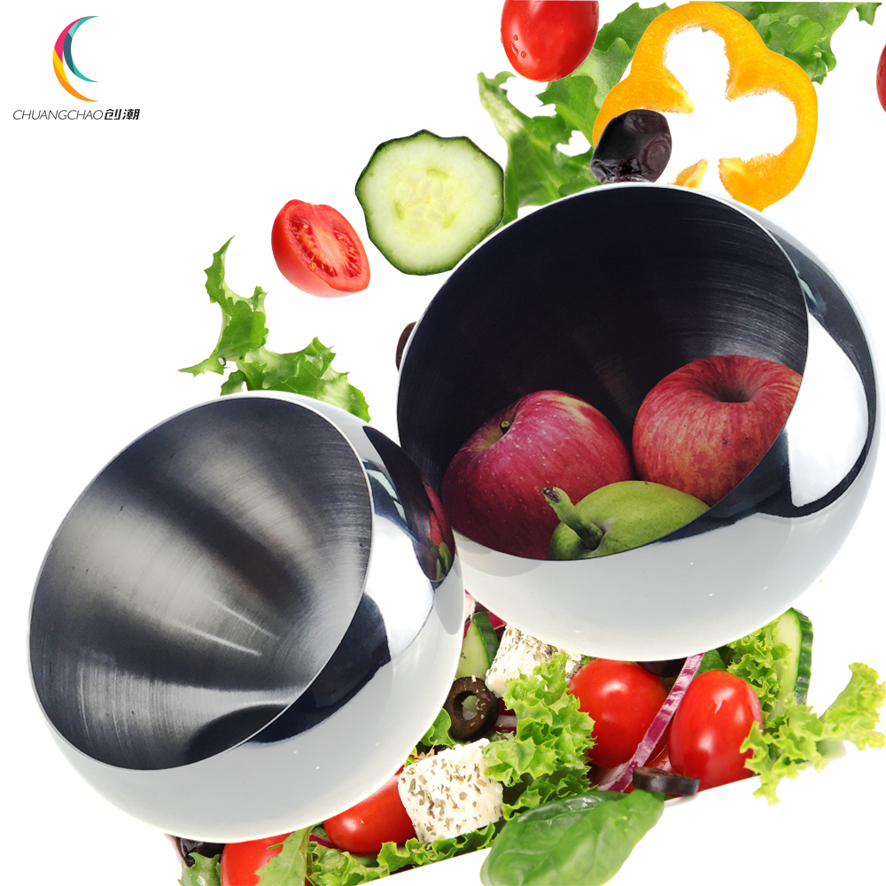 2016 new stainless steel salad bowl salad plate with a seat pan Hotel Boutique beveled fruit bowl spherical Xieshen spice jar(China (Mainland))