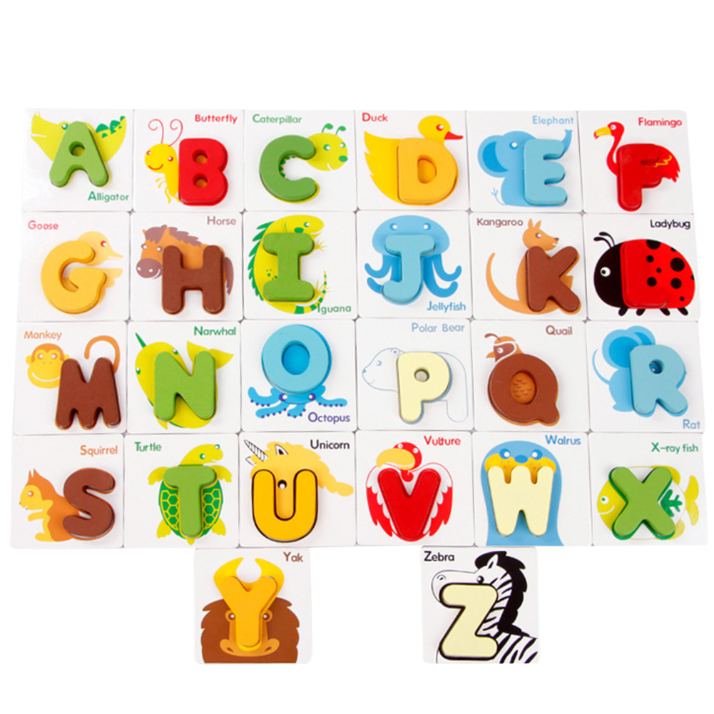 Wooden ABC Alphabet Cards 3D Puzzles Shape Matching Toy Baby Preschool Letters and Animal Patterns Combined Jigsaw Puzzle K5BO(China (Mainland))