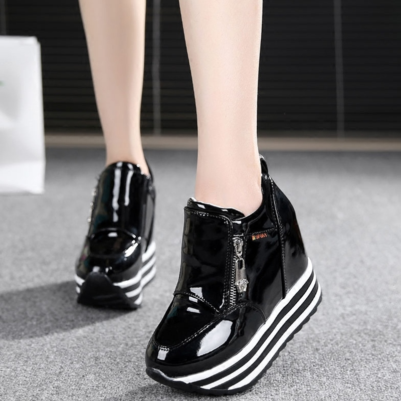 2016 New Trend Thick Heels Leather Women Casual Shoes High ...