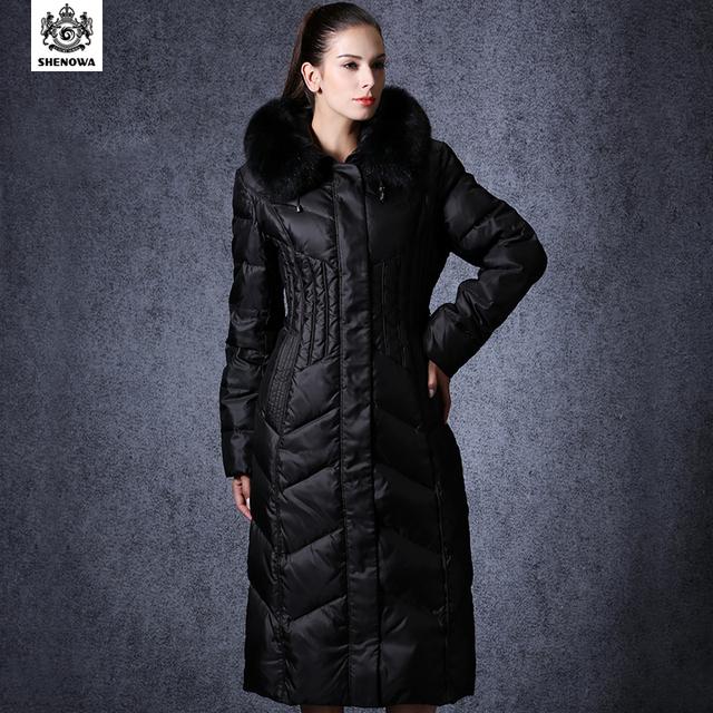 Дамы куртка черный женщины в парк SHENOWA толстый длинная вниз куртка зима куртка