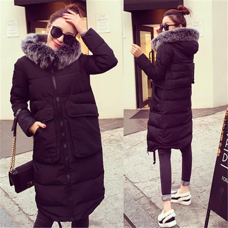 Women winter jacket fox fur hooded black padded coat long down Thick jacket women loose warm coat large size winter parka TT114