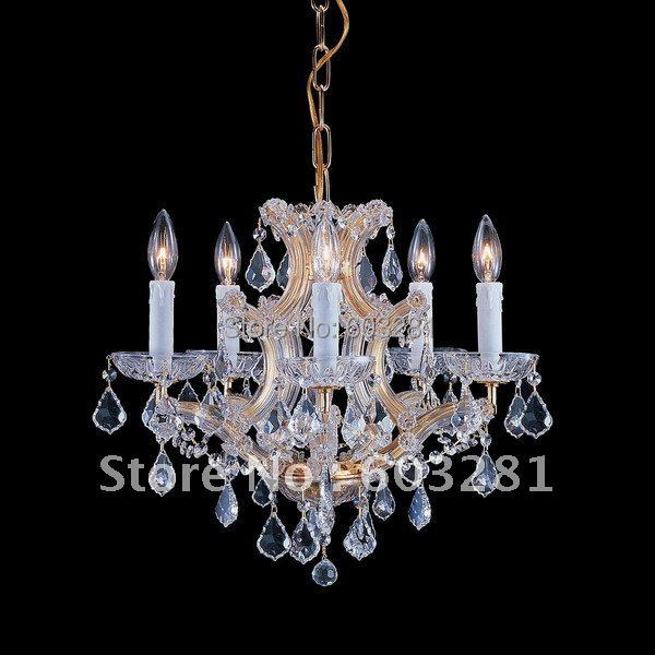 ATN4001-5P-Golden Teak,5 Light Maria Theresa Chandelier,Polished Chrome Gold +  -  AUTUMN LIGHTING FACTORY store