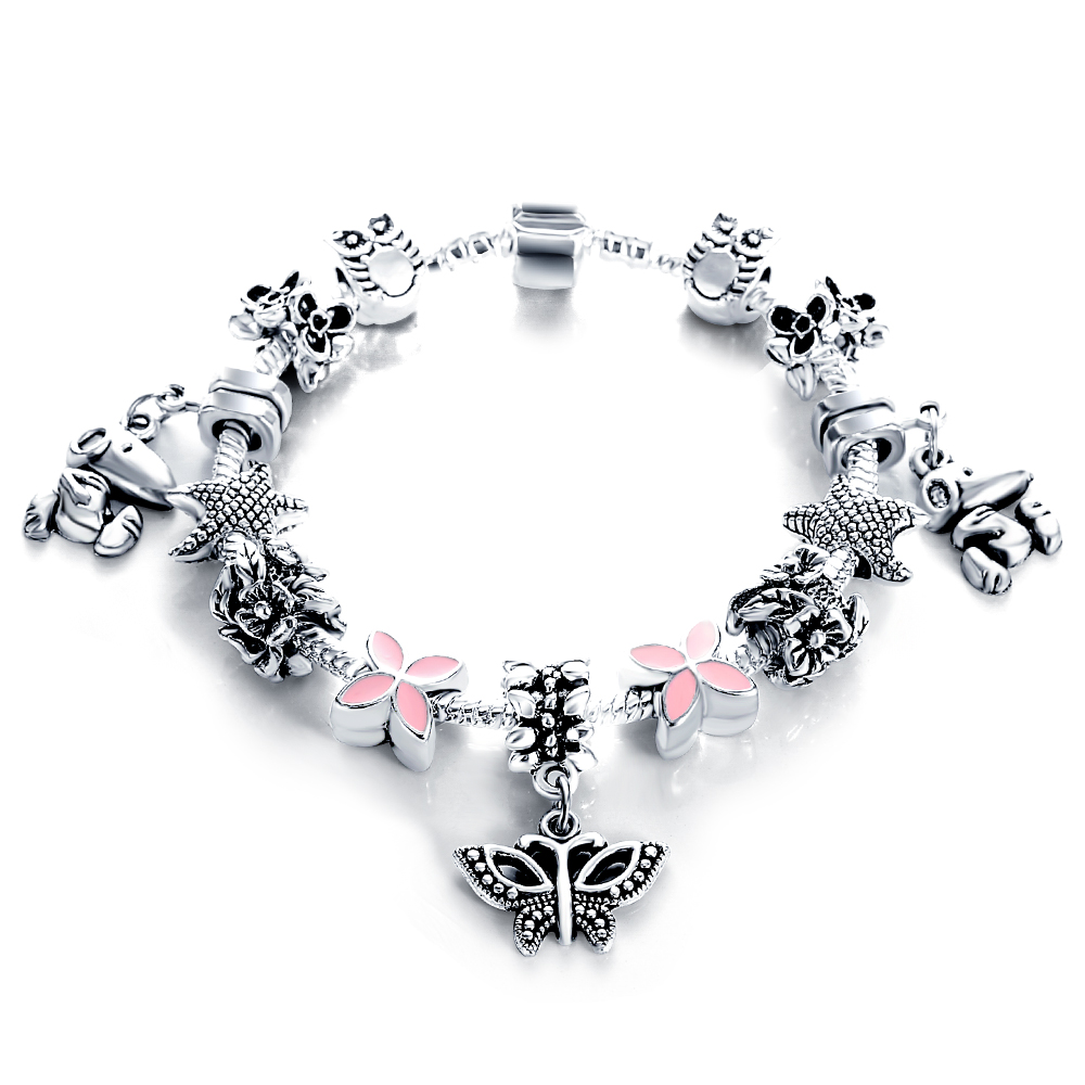 European Authentic Silver Antique Fine Bracelets & Bangles for Women Bead Fit Original Bracelets Manchette Pulseira Jewelry Gift(China (Mainland))