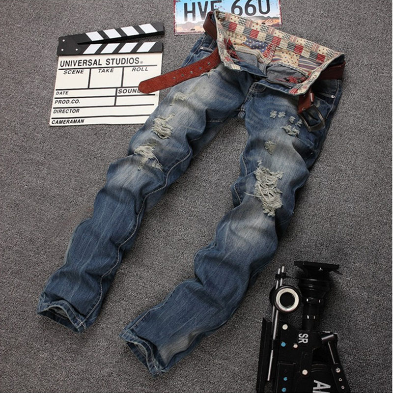 Hip-hop jeans high quality mens fashion swag Decorative hole straight jeans Cotton pants Kanye West David Beckham styleОдежда и ак�е��уары<br><br><br>Aliexpress