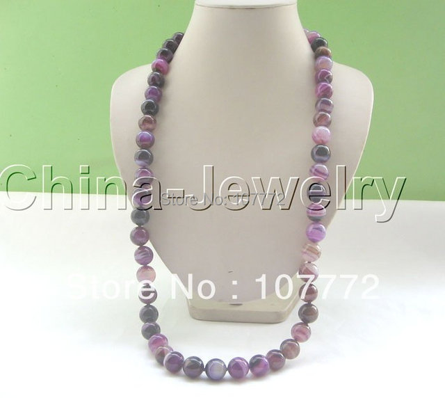 """Beautiful 33"""" 14 mm natural round purple agate necklace free shipment"""