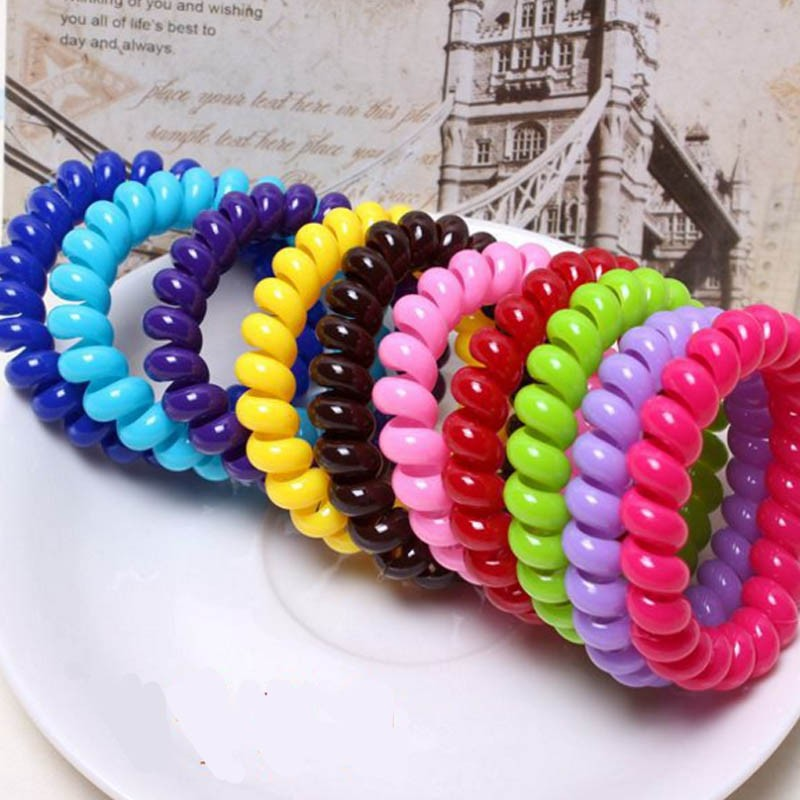 Scrunchy A Spring Scrunchy Telephone Wire A Spring Elastic Hair Bands Gum For Hair Accessories Gum Telephone Wire TS1006(China (Mainland))