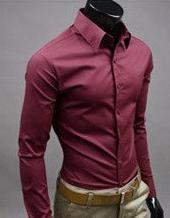 Men Dress Shirts Slim Fit Casual Blouse Turn-down Collar Unique Neckline Stylish Long Sleeve 2015 Free Shipping,AA019(China (Mainland))