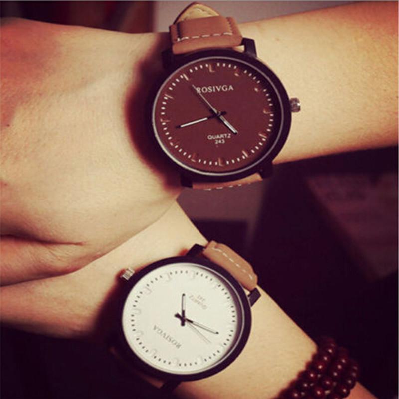 2015 Brand New Watch Fashion Round Steel Case Men women Leather Quartz analog wrist Watch High